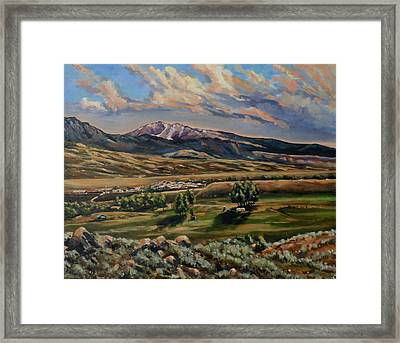 Gardiner And Electric Peak From Scotty's Place Framed Print