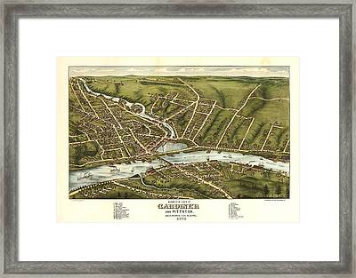 Gardiner And Pittston Maine 1878 Framed Print by Mountain Dreams