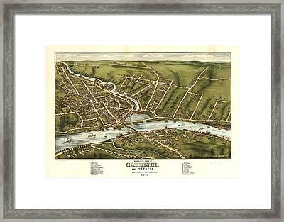 Gardiner And Pittston Maine 1878 Framed Print