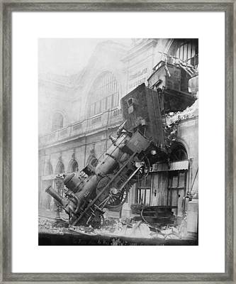 Gare Montparnasse Train Wreck 1895 Framed Print by Photo Researchers
