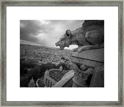 Gargoyle Hungry For The Eiffel Tower Framed Print by James Udall