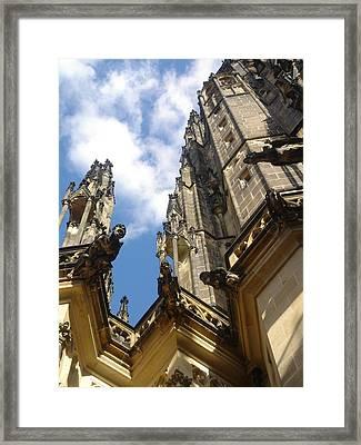 Gargoyles On St. Vitus Cathedral Framed Print by John Julio