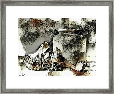 Garlic And Crock Framed Print