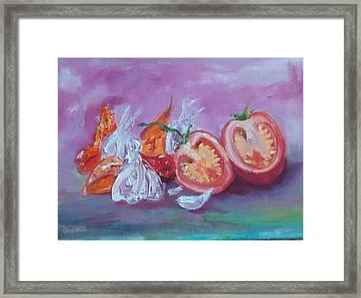 Garlic And Tomato  Framed Print