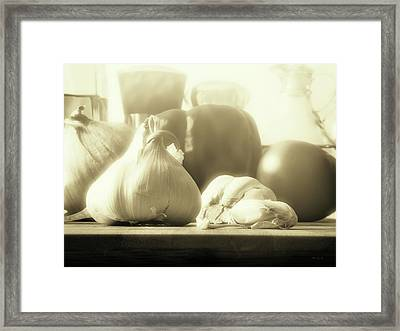 Garlic Before The Sauce Framed Print