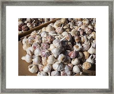 Garlic For Sale In Local Market, Ansi Framed Print