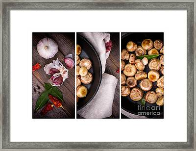 Garlic Mushrooms Triptych Framed Print