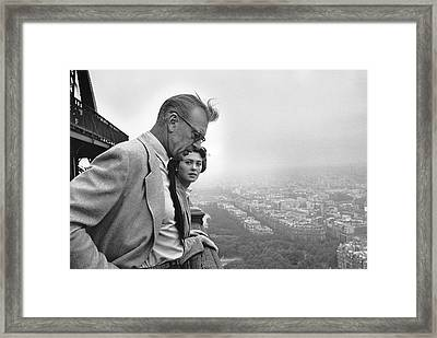 Gary Cooper And His Daughter Framed Print