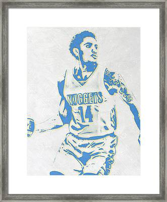 Gary Harris Denver Nuggets Pixel Art Framed Print