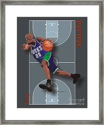 Gary Payton Framed Print by Walter Oliver Neal
