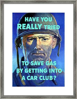 Gas Conservation Ww2 Poster Framed Print