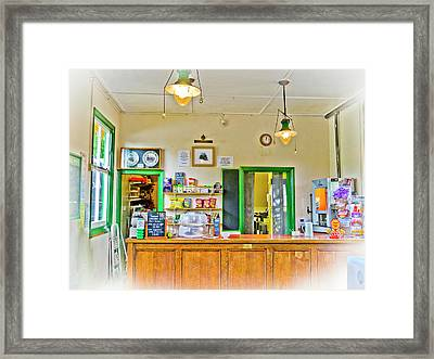 Gas Lamp Cafe Framed Print by Gerry Walden