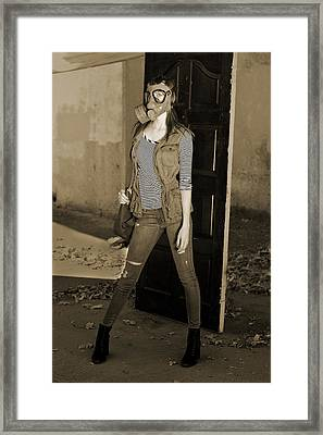Gas Mask Girl  Framed Print by Pamela Patch