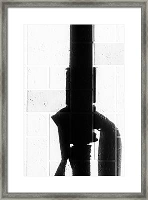 Gas Pipe Abstract In Black And White Framed Print by John Williams