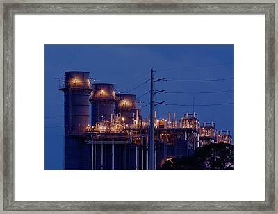 Framed Print featuring the photograph Gas Power Plant At Night by Bradford Martin