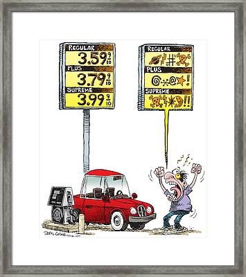 Gas Price Curse Framed Print