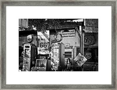 Gas Station On Route 66 Framed Print by Hideaki Sakurai