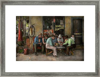 Gas Station - Playing Checkers Together 1939 Framed Print by Mike Savad