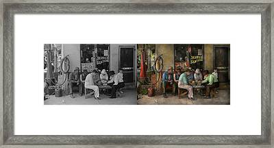 Gas Station - Playing Checkers Togther 1939 - Side By Sdie Framed Print by Mike Savad
