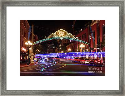 Gaslamp District At Night Framed Print