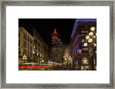 Gastown In Vancouver Bc At Night Framed Print