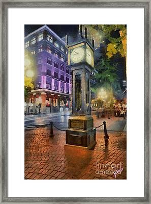 Framed Print featuring the digital art Gastown Sreamclock 1 by Jim  Hatch