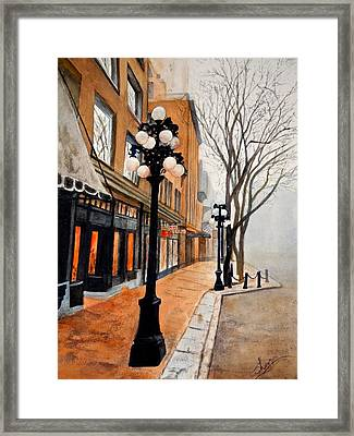 Framed Print featuring the painting Gastown, Vancouver by Sher Nasser
