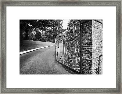 Gate And Driveway Of Graceland Elvis Presleys Mansion Home In Memphis Tennessee Usa Framed Print by Joe Fox