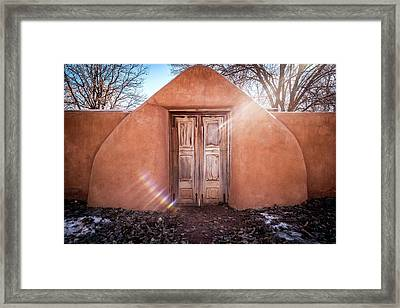 Gate At Galisteo Framed Print by Mary Lee Dereske