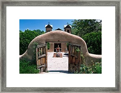 Gate Of An Adobe Church Framed Print by George Oze