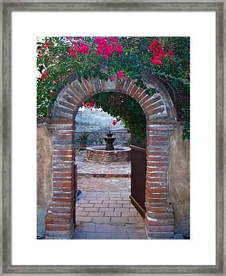 Gate To The Sacred Garden And Bell Wall Mission San Juan Capistrano California Framed Print by Karon Melillo DeVega