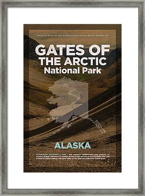Gates Of The Arctic National Park In Alaska Travel Poster Series Of National Parks Number 20 Framed Print by Design Turnpike