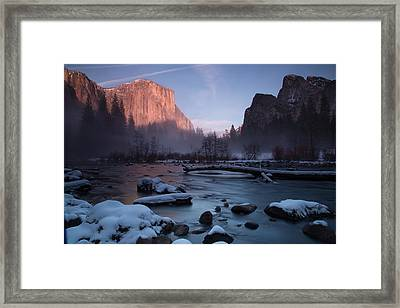 Gates Of The Valley In Winter Framed Print by John and Nicolle Hearne