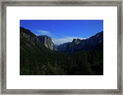 Gates Of Valley At Night Framed Print