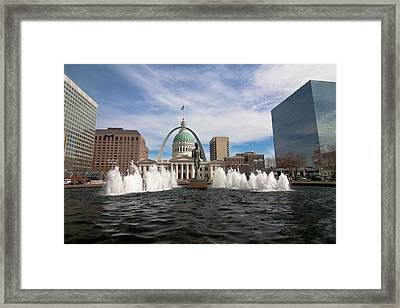 Gateway Arch And Old Courthouse In St. Louis Framed Print