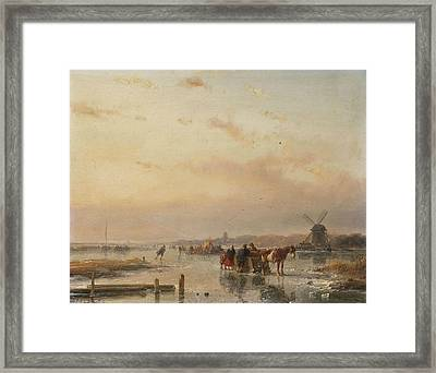 Gathered On The Ice At The End Of A Winter's Day Framed Print by Andreas Schelfhout