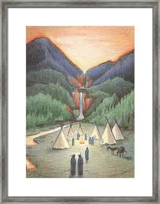 Gathering At The Falls Framed Print