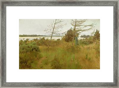Gathering Firewood By The Shore Of A Lake Framed Print