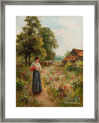 Gathering Flowers Framed Print by Celestial Images
