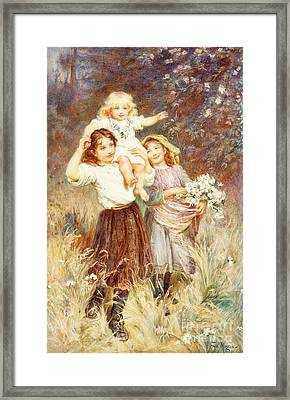 Gathering Flowers Framed Print by Frederick Morgan