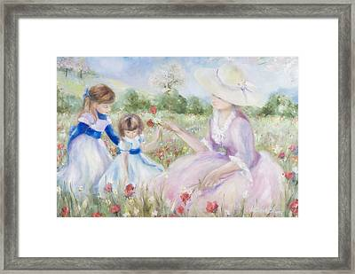 Gathering Flowers Framed Print by Victoria  Shea