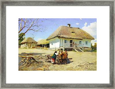 Gathering Near The Homestead Framed Print