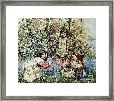 Gathering Primroses, 1919  Framed Print by Edward Atkinson Hornel