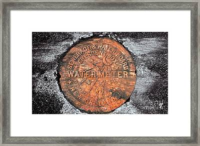 New Orleans Water Meter Cover 9 Months After Katrina Framed Print by Pringle Teetor