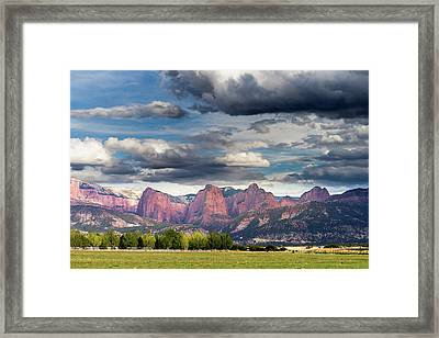 Gathering Storm Over The Fingers Of Kolob Framed Print