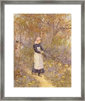 Gathering Wood For Mother Framed Print by Helen Allingham