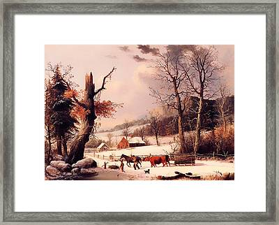 Gathering Wood For Winter Framed Print by Mountain Dreams