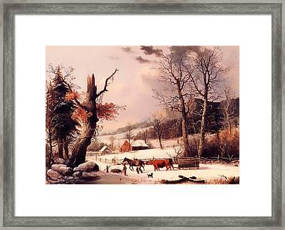 Gathering Wood For Winter Framed Print