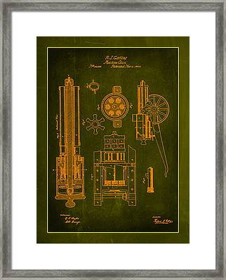 Gatlin Machine Gun Drawing 1b Framed Print by Brian Reaves