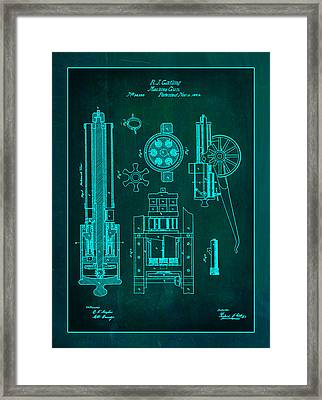 Gatlin Machine Gun Drawing 1e Framed Print by Brian Reaves
